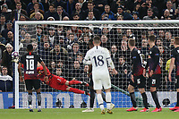 Peter Gulacsi of RB Leipzig  pushes a free kick from Giovani Lo Celso of Tottenham Hotspur onto the post during Tottenham Hotspur vs RB Leipzig, UEFA Champions League Football at Tottenham Hotspur Stadium on 19th February 2020