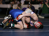 Kyle Crisafulli of Phoenix (III) and Quinton Murphy of Holley (V) square off in the NY State Division Two finals at the 103 weight class during the NY State Wrestling Championship finals at Blue Cross Arena on March 9, 2009 in Rochester, New York.  (Copyright Mike Janes Photography)