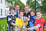 Colm Cooper and Garda Eddie Walsh launching the 2014 Killarney Garda National School football competition which will be held in the Fitzgearld Stadium on Monday 16 the June were l-r: Evan Smith , Cian Murphy, Cillian Buckley and Liam Kelleher at Killarney Garda Stationn on Monday