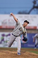 Chris Anderson #35 of the Rancho Cucamonga Quakes pitches against the High Desert Mavericks at Stater Bros. Stadium on April 24, 2014 in Adelanto, California. Rancho Cucamonga defeated High Desert, 7-5. (Larry Goren/Four Seam Images)