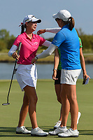 Katherine Perry (USA) congratulates Cheyenne Knight (USA) for winning the 2019 Volunteers of America Texas Classic, the Old American Golf Club, The Colony, Texas, USA. 10/6/2019.<br /> Picture: Golffile | Ken Murray<br /> <br /> <br /> All photo usage must carry mandatory copyright credit (© Golffile | Ken Murray)
