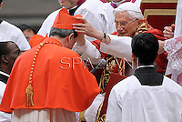 Colombia's cardinal Ruben Salazar Gomez,Pope Benedict XVI leads a ceremony to appoint six new cardinals at St Peter's basilica at the Vatican.November 24, 2012