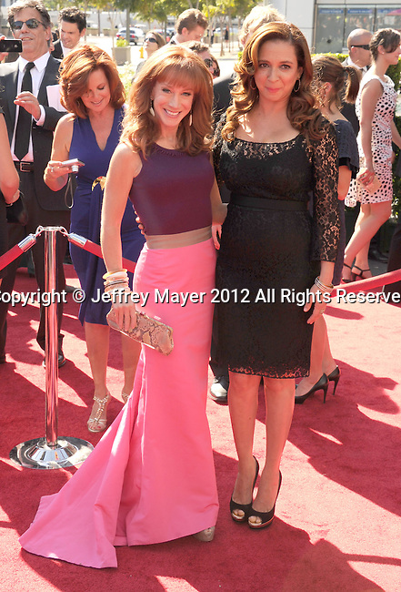 LOS ANGELES, CA - SEPTEMBER 15: Kathy Griffin and Maya Rudolph arrive at the 2012 Primetime Creative Arts Emmy Awards at Nokia Theatre L.A. Live on September 15, 2012 in Los Angeles, California.