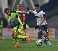 Preston North End's Callum Robinson in action with Reading's Daniel Williams<br /> <br /> Photographer Mick Walker/CameraSport<br /> <br /> The EFL Sky Bet Championship - Preston North End v Reading - Saturday 11th March 2017 - Deepdale - Preston<br /> <br /> World Copyright &copy; 2017 CameraSport. All rights reserved. 43 Linden Ave. Countesthorpe. Leicester. England. LE8 5PG - Tel: +44 (0) 116 277 4147 - admin@camerasport.com - www.camerasport.com