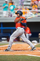 Brauly Mejia (21) of the Greeneville Astros follows through on his swing against the Kingsport Mets at Hunter Wright Stadium on July 7, 2015 in Kingsport, Tennessee.  The Mets defeated the Astros 6-4. (Brian Westerholt/Four Seam Images)