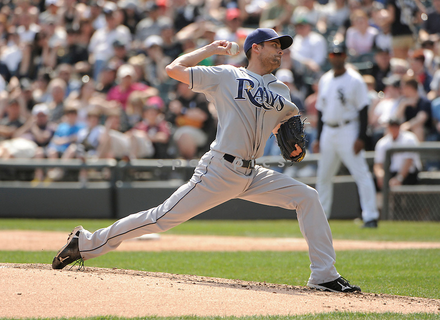ANDY SONNANSTINE, of the Tampa Bay Rays , in actions during the Rays game against the Chicago White Sox at US Cellular Field on April 10, 2011.  The Chicago White Sox won the game beating the Tampa Bay Rays 6-1.