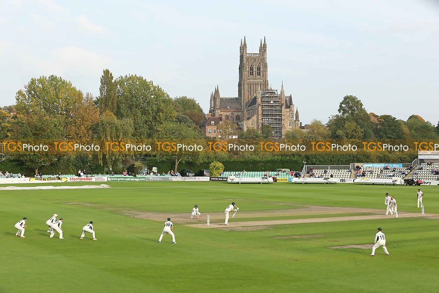Worcestershire's Captain Joe Leach takes the wicket of Durham's Cameron Steel during Worcestershire CCC vs Durham CCC, Specsavers County Championship Division 2 Cricket at New Road on 26th September 2017
