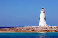Lighthouse marking the end of Nassau harbour on the island of New Providence in the Bahamas