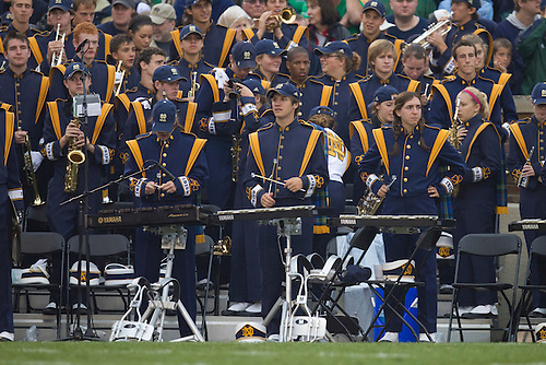 Notre Dame band performs during NCAA football game between the Notre Dame Fighting Irish and the Michigan Wolverines.  Michigan defeated Notre Dame 28-24 in game at Notre Dame Stadium in South Bend, Indiana.