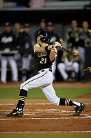 UCF Knights Noah Orlando (21) bats during a game against the Siena Saints on February 14, 2020 at John Euliano Park in Orlando, Florida.  UCF defeated Siena 2-1.  (Mike Janes/Four Seam Images)