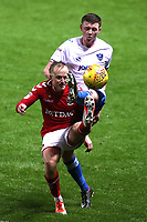 Ben Reeves of Charlton Athletic tries to flick the ball over the head of Portsmouth Dion Donohue during Charlton Athletic vs Portsmouth, Checkatrade Trophy Football at The Valley on 7th November 2017