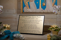 A sign rests on the tomb of St. Katharine Drexel at the National Shrine of St. Katharine Drexel Saturday, December 30, 2017 in Bensalem, Pennsylvania. Drexel was an American heiress who dedicating herself to work among the American Indians and African-Americans in the western and southwestern United States. She was canonized a saint by the Roman Catholic Church in 2000. (Photo by William Thomas Cain/Cain Images)