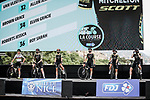 Mitchelton-Scott at the presentation before the start of La Course By Le Tour de France 2020, running 96km from Nice to Nice, France. 29th August 2020.<br /> Picture: ASO/Thomas Maheux | Cyclefile<br /> All photos usage must carry mandatory copyright credit (© Cyclefile | ASO/Thomas Maheux)