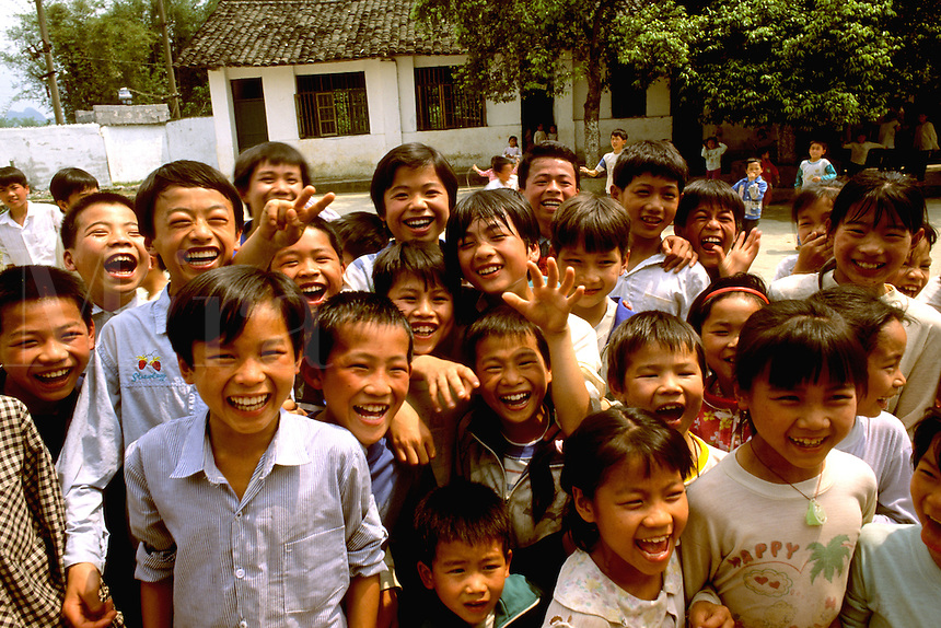 Fun portrait of schoolchildren in China