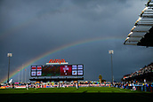 February 2nd 2019, San Jose, California, USA; A rainbow forms over Avaya Stadium during play in the international friendly match between USA and Costa Rica at Avaya Stadium on February 2, 2019 in San Jose CA.