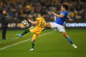June 13th 2017, Melbourne Cricket Ground, Melbourne, Australia; International Football Friendly; Brazil versus Australia; Aziz Behich of Australia and David Luiz Marinho of Brazil battling for the ball