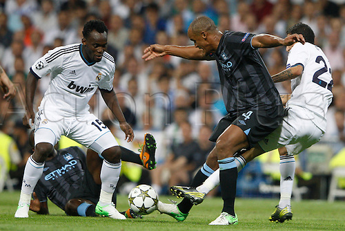 18.09.2012. Madrid. Spain.  Champions League   match played between Real Madrid CF vs  Manchester City at Santiago Bernabeu stadium. The picture show Vincent Kompany (Defender of Manchester City) Real Madrid rallied to win the game 3-2.