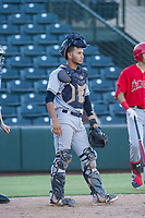 AZL Indians catcher Joshua Rolette (46) on defense during a game against the AZL Angels on August 7, 2017 at Tempe Diablo Stadium in Tempe, Arizona. AZL Indians defeated the AZL Angels 5-3. (Zachary Lucy/Four Seam Images)