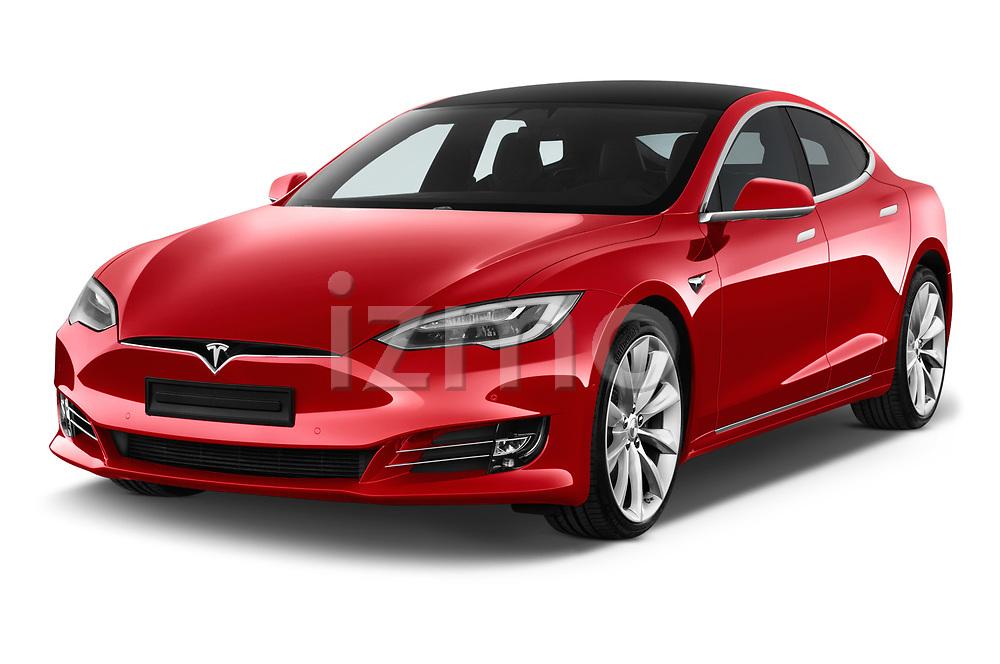 2017 Tesla Model S 100D 5 Door Hatchback angular front stock photos of front three quarter view