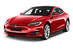 2017 Tesla Model S 100D 5 Door Hatchback angular front stock photos of front three quarter view