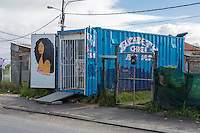 South Africa, Cape Town, Guguletu Township.  Hair Salon in a Shipping Container.