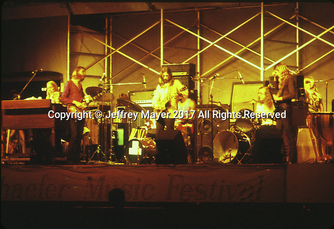 "NEW YORK, NY - JULY 21: Musicians Gregg Allman, Duane Allman; Dickey Betts, Jai Johanny ""Jaimoe"" Johanson; Berry Oakley; Butch Trucks live in concert with the Allman Brothers Band at the Schaefer Music Festival in Central Park on July 21, 1971 in New York, New York."