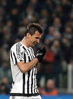 Calcio, andata degli ottavi di finale di Champions League: Juventus vs Bayern Monaco. Torino, Juventus Stadium, 23 febbraio 2016. <br /> Juventus' Mario Mandzukic reacts during the Champions League round of 16 first leg soccer match between Juventus and Bayern at Turin's Juventus Stadium, 23 February 2016.<br /> UPDATE IMAGES PRESS/Isabella Bonotto