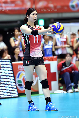 Erika Araki (JPN), MAY 14, 2016 - Volleyball : Women's Volleyball World Final Qualification for the Rio de Janeiro Olympics 2016 match between Japan 3-0 Peru at Tokyo Metropolitan Gymnasium in Tokyo, Japan. (Photo by Ryu Makino/AFLO)