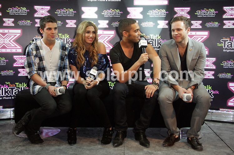 **ALL ROUND PICTURES FROM SOLARPIX.COM**.**WORLDWIDE SYNDICATION RIGHTS**.Pictures from the X Factor secret gig with the semi-finalists sponsored by TalkTalk in Soho, London, UK. 3 December 2009..This pic: Joe McElderry, Stacey Soloman, Danyl Johnson and Olly Murs..JOB REF: 10337 SKD       DATE: 03_12_2009.**MUST CREDIT SOLARPIX.COM OR DOUBLE FEE WILL BE CHARGED**.**MUST NOTIFY SOLARPIX OF ONLINE USAGE**.**CALL US ON: +34 952 811 768 or LOW RATE FROM UK 0844 617 7637**