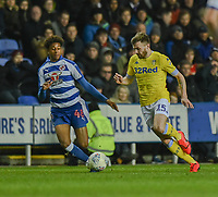 Leeds United's Stuart Dallas (right) under pressure from Reading's Michael Olise<br /> <br /> Photographer David Horton/CameraSport<br /> <br /> The EFL Sky Bet Championship - Reading v Leeds United - Tuesday 12th March 2019 - Madejski Stadium - Reading<br /> <br /> World Copyright © 2019 CameraSport. All rights reserved. 43 Linden Ave. Countesthorpe. Leicester. England. LE8 5PG - Tel: +44 (0) 116 277 4147 - admin@camerasport.com - www.camerasport.com