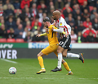 Preston North End's Alan Browne battles with  Sheffield United's David McGoldrick<br /> <br /> Photographer Mick Walker/CameraSport<br /> <br /> The EFL Sky Bet Championship - Sheffield United v Preston North End - Saturday 22 September 2018 - Bramall Lane - Sheffield<br /> <br /> World Copyright © 2018 CameraSport. All rights reserved. 43 Linden Ave. Countesthorpe. Leicester. England. LE8 5PG - Tel: +44 (0) 116 277 4147 - admin@camerasport.com - www.camerasport.com