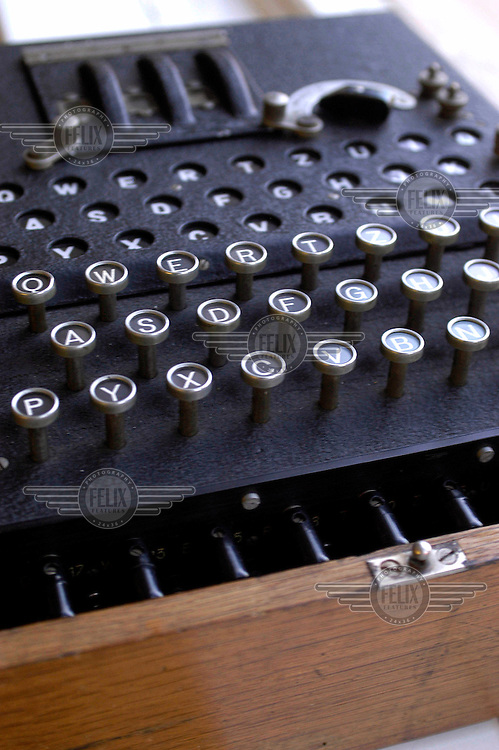 The original Enigma code-breaking machine on display at Hedingham school. The machine was used to decipher encrypted German signals during World War Two.