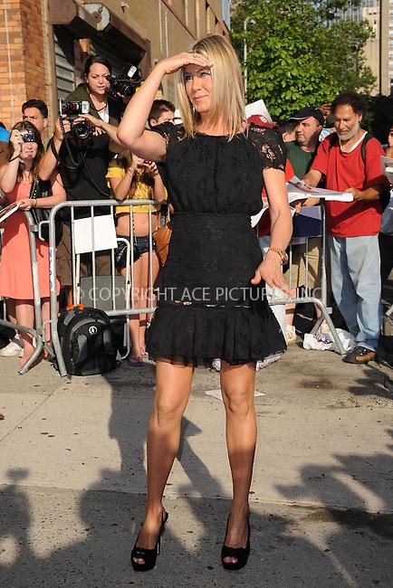 WWW.ACEPIXS.COM . . . . . .June 27, 2011...New York City...Jennifer Aniston tapes Jon Stewart on June 27, 2011 in New York City....Please byline: KRISTIN CALLAHAN - ACEPIXS.COM.. . . . . . ..Ace Pictures, Inc: ..tel: (212) 243 8787 or (646) 769 0430..e-mail: info@acepixs.com..web: http://www.acepixs.com .