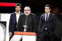 Actors Hugo Silva (L) and Mario Casas (R) and director Alex de la Iglesia attends the 'Donostia' Award 2013 ceremony during the 61 San Sebastian Film Festival, in San Sebastian, Spain. September 22, 2013. (ALTERPHOTOS/Victor Blanco) /NortePhoto