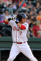 Designated hitter Carlos Coste (7) of the Greenville Drive in a game against the Lexington Legends on Wednesday, June 4, 2014, at Fluor Field at the West End in Greenville, South Carolina. Lexington won, 9-3. (Tom Priddy/Four Seam Images)