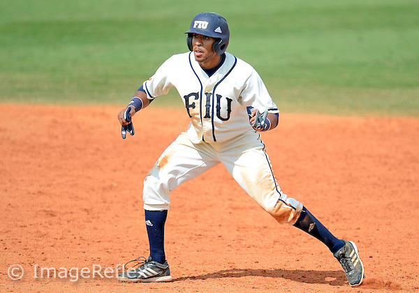 Florida International University infielder Julius Gaines (2) plays against the University of Mississippi, which won the game 8-1 on March 3, 2013 at Miami, Florida.