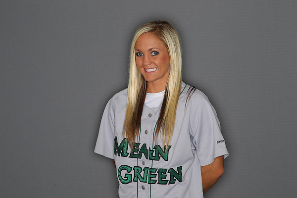 Denton, TX - NOVEMBER 27: Brooke Foster of University of North Texas mean green softball team at University of North Texas Mean Green Village on November 27, 2012 in Denton, Texas. (Photo by Rick Yeatts)
