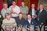 PRESENTATION: Members of the Sand Pipers Golf Society taking part in a presentation in the Bunker Bar, Ballybunion, on Saturday evening. Front l-r Andy Sommerville, John Walsh, John Joy. Back l-r Padraig Murphy, John Farrell (sponsor), Jimmy Joe Griffin, Jerry Kelliher and Jim Henderson (president)..