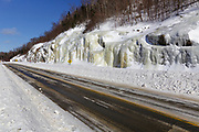 Route 112 in Kinsman Notch in North Woodstock, New Hampshire USA during the winter months.