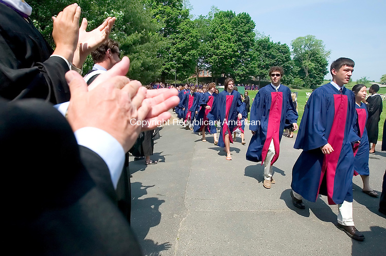 WATERTOWN, CT. 26 May 2007-052607SV02--Graduates are applauded by faculty on the way into the Taft graduation Ceremony in Watertown Saturday.<br /> Steven Valenti Republican-American