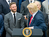 United States President Donald J. Trump gestures towards New England Patriots wide receiver Julian Edelman (11) as he makes remarks welcoming the Super Bowl Champion New England Patriots to the South Lawn of White House in Washington, DC on Wednesday, April 19, 2917.<br /> Credit: Ron Sachs / CNP<br /> (RESTRICTION: NO New York or New Jersey Newspapers or newspapers within a 75 mile radius of New York City)