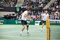 Rotterdam, The Netherlands. 16.02.2014. Michael Llodra(FRA)/Nicolas Mahut(FRA) (R)  ABN AMRO World tennis Tournament<br /> Photo:Tennisimages/Henk Koster