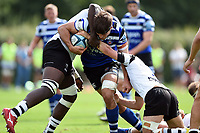 Josh Bayliss of Bath United takes on the Bristol defence. Premiership Rugby Shield match, between Bristol Bears A and Bath United on August 31, 2018 at the Cribbs Causeway Ground in Bristol, England. Photo by: Patrick Khachfe / Onside Images