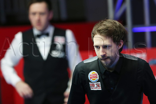 03.04.2016. Beijing, China.  Judd Trump(R) of England  during the final of the 2016 World Snooker China Open Tournament against his compatriot Ricky Walden in Beijing,  China, April 3, 2016.