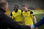 Winning goal scorer Lewis Allan (right) is congratulated by teammate Joe Mbu on the pitch at Station Park, Forfar after the SPFL League 2 fixture between Forfar Athletic and Edinburgh City (in yellow). It was the club's sixth and final meeting of City's inaugural season since promotion from the Lowland League the previous season. City came from behind to win this match 2-1, watched by a crowd of 446.