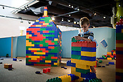 May 22, 2008. Raleigh, NC..Marbles Children's Museum, on Moore Square in downtown Raleigh.. Mason Crawford, age 6, of Cary, builds with the large blocks available for play in one of the areas of the museum.