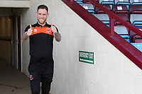 Blackpool's Oliver Turton is in high spirits as he arrives at Glanford Park<br /> <br /> Photographer David Shipman/CameraSport<br /> <br /> The EFL Sky Bet League One - Scunthorpe United v Blackpool - Friday 19th April 2019 - Glanford Park - Scunthorpe<br /> <br /> World Copyright © 2019 CameraSport. All rights reserved. 43 Linden Ave. Countesthorpe. Leicester. England. LE8 5PG - Tel: +44 (0) 116 277 4147 - admin@camerasport.com - www.camerasport.com