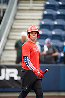 TEMPORARY UNEDITED FILE:  Image may appear lighter/darker than final edit - all images cropped to best fit print size.  <br /> <br /> Under Armour All-American Game presented by Baseball Factory on July 20, 2018 at Les Miller Field at Curtis Granderson Stadium in Chicago, Illinois.  (Mike Janes/Four Seam Images) Tyler Callihan is a third baseman from Providence High School in Neptune Beach, Florida committed to South Carolina.