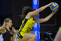 Central's Saviour Tui takes a pass during the Beko Netball League match between Central Manawa and Waikato Bay Of Plenty at TSB Bank Arena in Wellington, New Zealand on Sunday, 21 April 2019. Photo: Dave Lintott / lintottphoto.co.nz