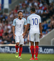 Lewis Baker (Vitesse Arnhem, loan from Chelsea) of England dances over to Ruben Loftus-Cheek (Chelsea) of England as the number 10 scores his goal during the International EURO U21 QUALIFYING - GROUP 9 match between England U21 and Norway U21 at the Weston Homes Community Stadium, Colchester, England on 6 September 2016. Photo by Andy Rowland / PRiME Media Images.